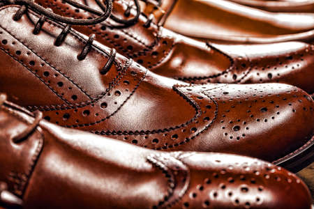luxury lifestyle: Fashion classical polished mens brown oxford brogues