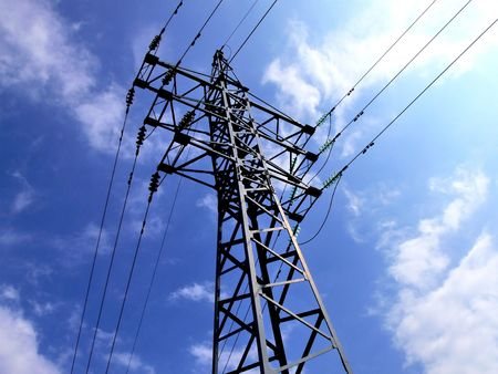 isolators: Transmission line of a high voltage Stock Photo
