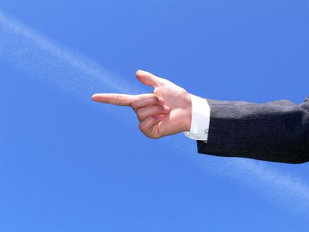 Hand pointing on the left side Stock Photo - 432926