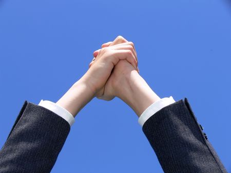Hands together with a hope message