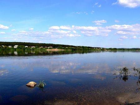 Clouds above biggest river of Lithuania Stock Photo - 436392