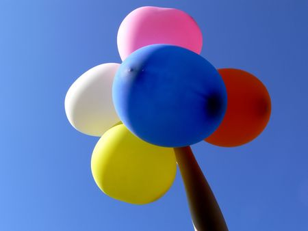 Five ballons above blue sky Stock Photo - 440293