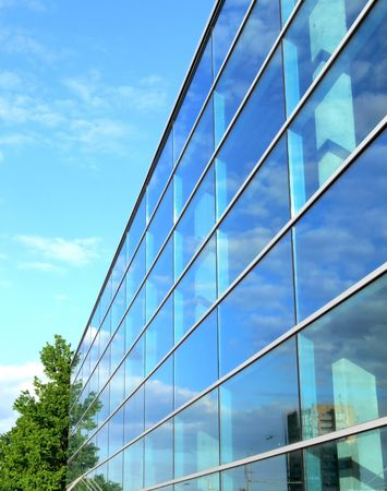 Office building with glass windows. Stock Photo
