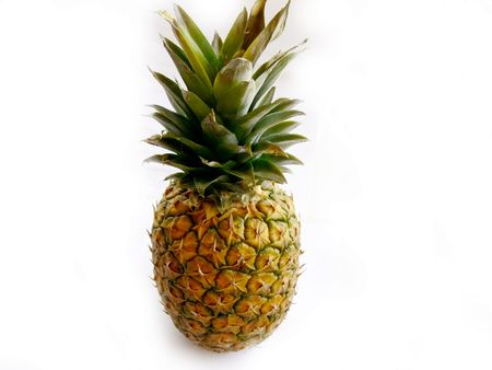 Full photo of a fresh pineapple on a white background