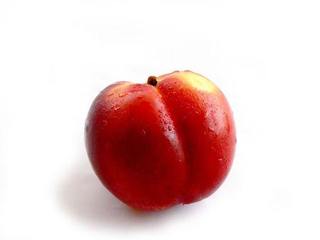 Nectarine, close-up, fruit isolated on white background