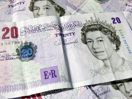 Twenty pound banknotes background