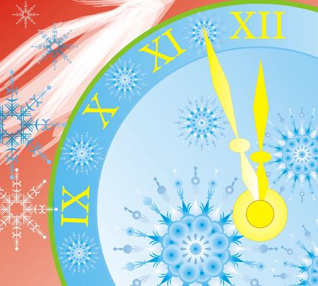 New years clock background, minute about new year, vector image