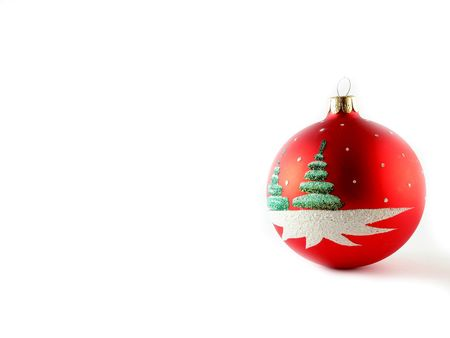 Red Cristmas ball on white for your design