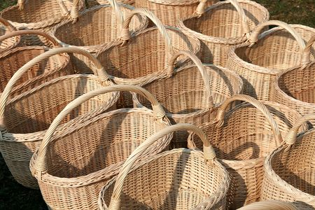 Line of baskets in the marketplace