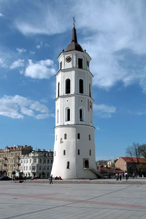 Lithuania, Vilnius,Cathedral Place, with belfry in a sunny day Stock Photo