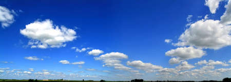 large formation: High resolution cloudy sky panorama with horizon Stock Photo