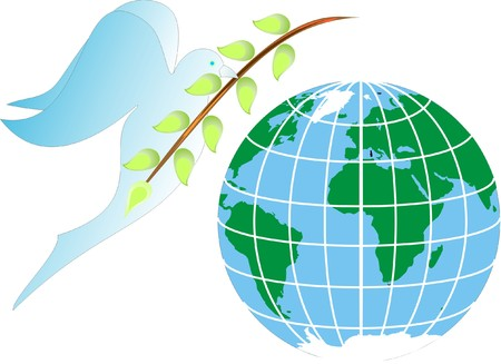 pictorial: Dove of peace with green branch Illustration