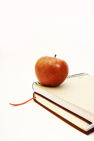 Back to school - red apple on notebooks (isolated)