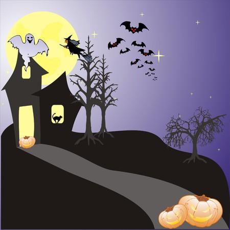 Halloween background with bats, ghost & pumpkin, vector illustration Vector