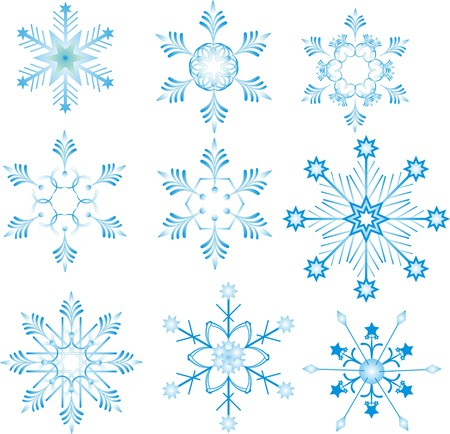 Blue snowflakes on white background  Illustration