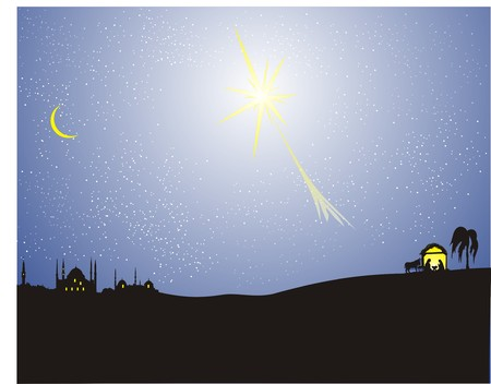 shepherds: Christmas nativity scene. Vector illustration