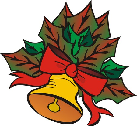 Christmas bell with leaves. Vector illustration