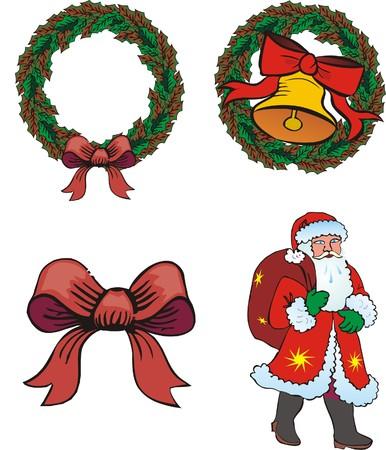 attribute: Vier kerst ken merk op een witte achtergrond. Vector afbeelding Stock Illustratie