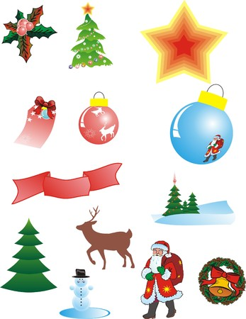 attribute: Christmas attribute on white background. Vector illustration