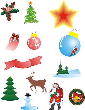 attribute: Kerstmis kenmerk op witte achtergrond. Vector illustration