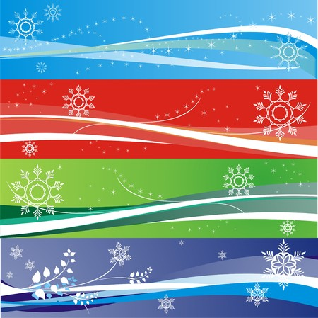 Abstract winter holidays and snowflake banners Illustration