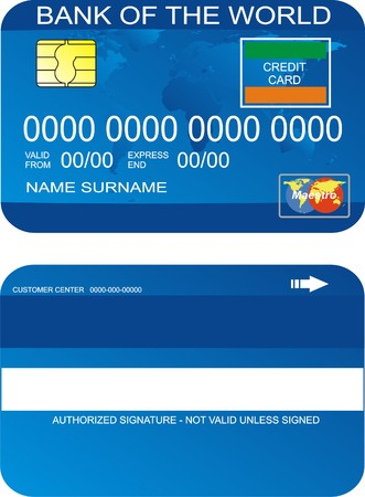 Personal Credit Card on white background Illustration