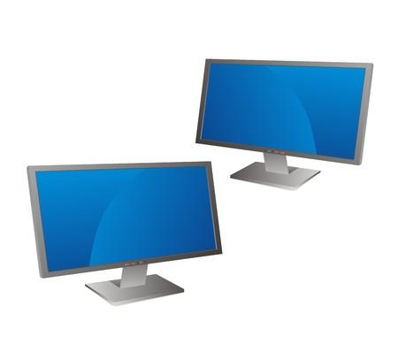 Wide computer noname flat screen reflecting Vector