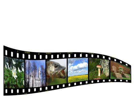Filmstrip with six colorful photos from Lithuania. Copyspace for your design
