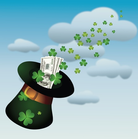 patrick banner: Hat with money for St. Patricks Day