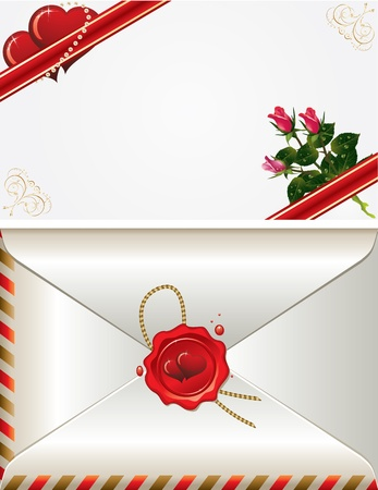 vector hearts: vector set of decorative Saint Valentines card and envelopes with hearts and roses
