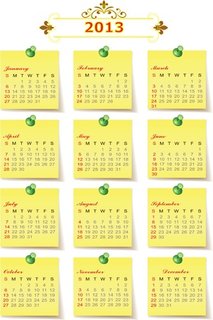 2013 Year vector calendar. The week starts on Sunday. Stock Vector - 16687988