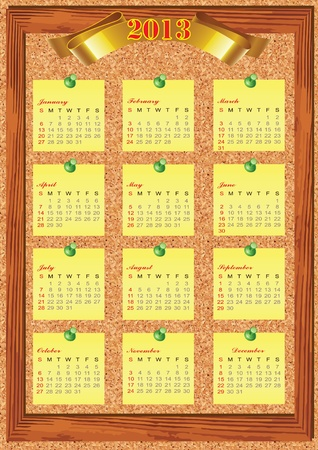 2013 Year calendar. The week starts on Sunday. Stock Vector - 16687987