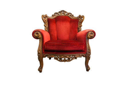 antique chair: classical carved wooden chair isolated on white with clipping path