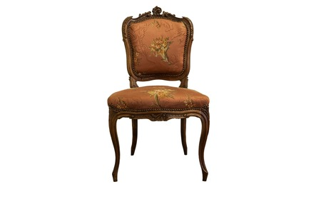 French XIX century antique furniture made from oak wood isolated on white. Clipping path included Stock Photo