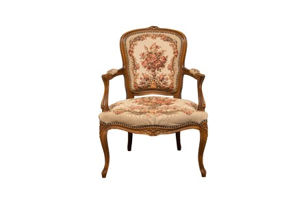 XIX century antique chair made from oak wood isolated on white.
