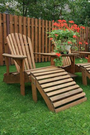 Patio furniture on green lawn