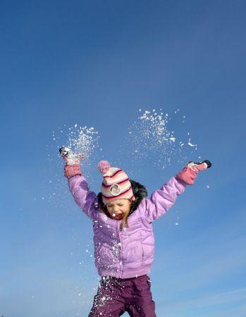 snow break:                                happy winter  Stock Photo