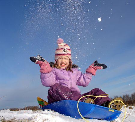 gaiety:                                happy winter girl Stock Photo