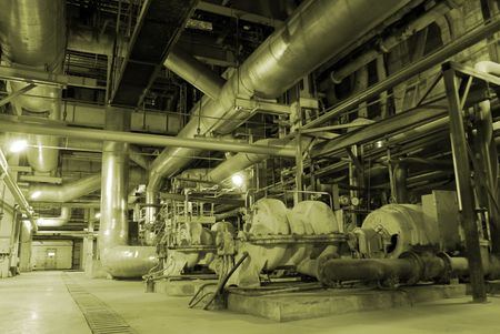 immense: Pipes inside energy plant           Stock Photo