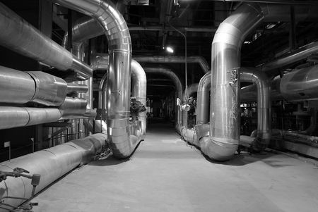 commerce and industry: Pipes inside energy plant         Stock Photo