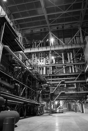 mechanized: different size and shaped pipes at a power plant