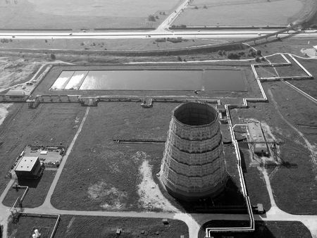 Aerial view of a power plant, black and white photo