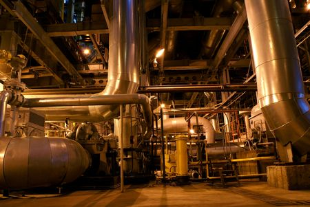 Pipes and tubes and chimney at a power plant Stock Photo - 3050775