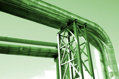 volts: industrial pipelines on pipe-bridge Stock Photo