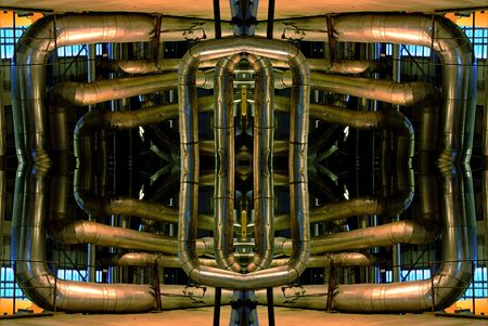 abstract illustration of a tangle of pipes, ladders, walkways illustration