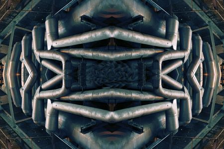 steam turbine: abstract illustration of a tangle of pipes, ladders, walkways