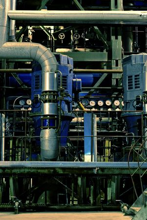 Pipes, tubes, machinery and steam turbine at a power plant Stock Photo - 3905912