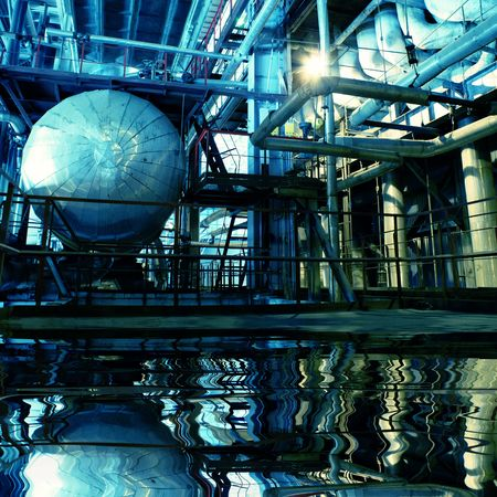 Pipes, tubes, machinery and steam turbine at a power plant Stock Photo - 4010309