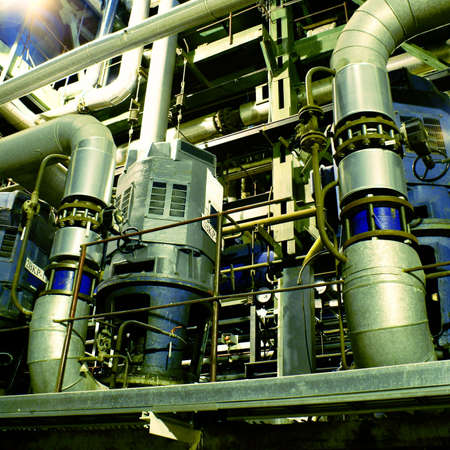 steam turbine: Pipes, tubes, machinery and steam turbine at a power plant