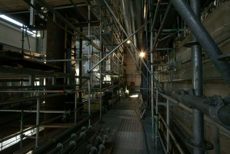 scaffolds: Pipes, tubes, scaffolds at a power plant            Stock Photo
